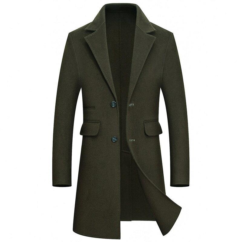 毛呢大衣長版風衣-西裝領商務修身羊毛男外套4色73wk25【獨家進口】【米蘭精品】 0