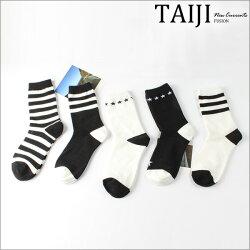 休閒短襪‧男款黑白條紋星星棉襪5色一組‧五色【NQZH020】-TAIJI-