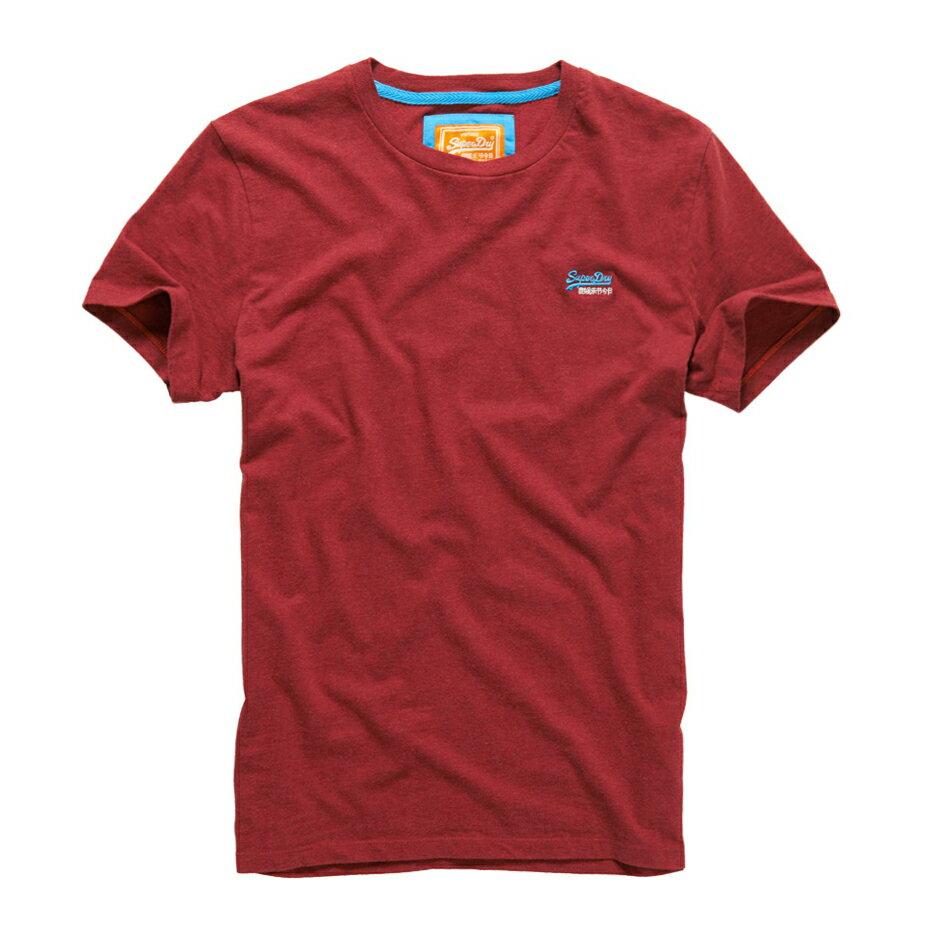 美國百分百【Superdry】極度乾燥 T恤 上衣 T-shirt 短袖 短T 經典 豬肝紅 logo 素面 S M L XL XXL號 F235