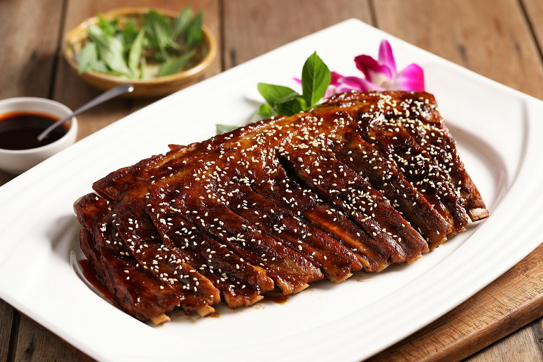 民雄海產餐廳 蜜汁嫩子排 800g 極品豬肋排料理 日式燒烤口味  年菜
