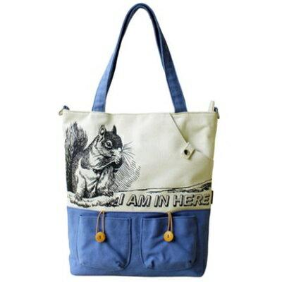 斜背包帆布肩背包-可愛松鼠印花時尚女包包73st9【獨家進口】【米蘭精品】