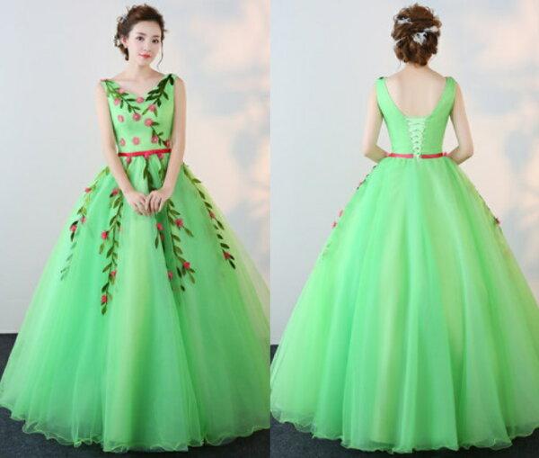 天使嫁衣【IU618】綠色無袖V領花園仙子主題彩紗晚禮服˙預購客製款