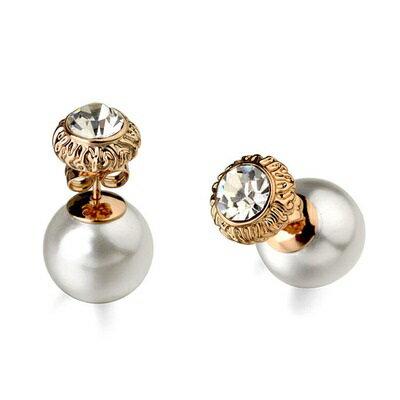 玫瑰金耳環925純銀鑲鑽耳飾 ~古典迷人奢華百搭情人節生日 女飾品2色73gs242~ ~