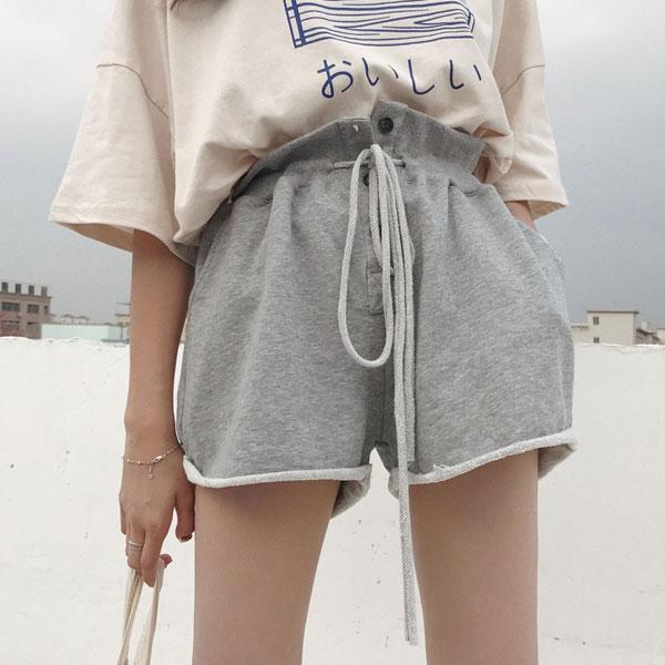 捲邊排釦休閒短褲高腰彈性長腿顯瘦寬鬆抽繩運動休閒短褲棉韓國ANNAS.
