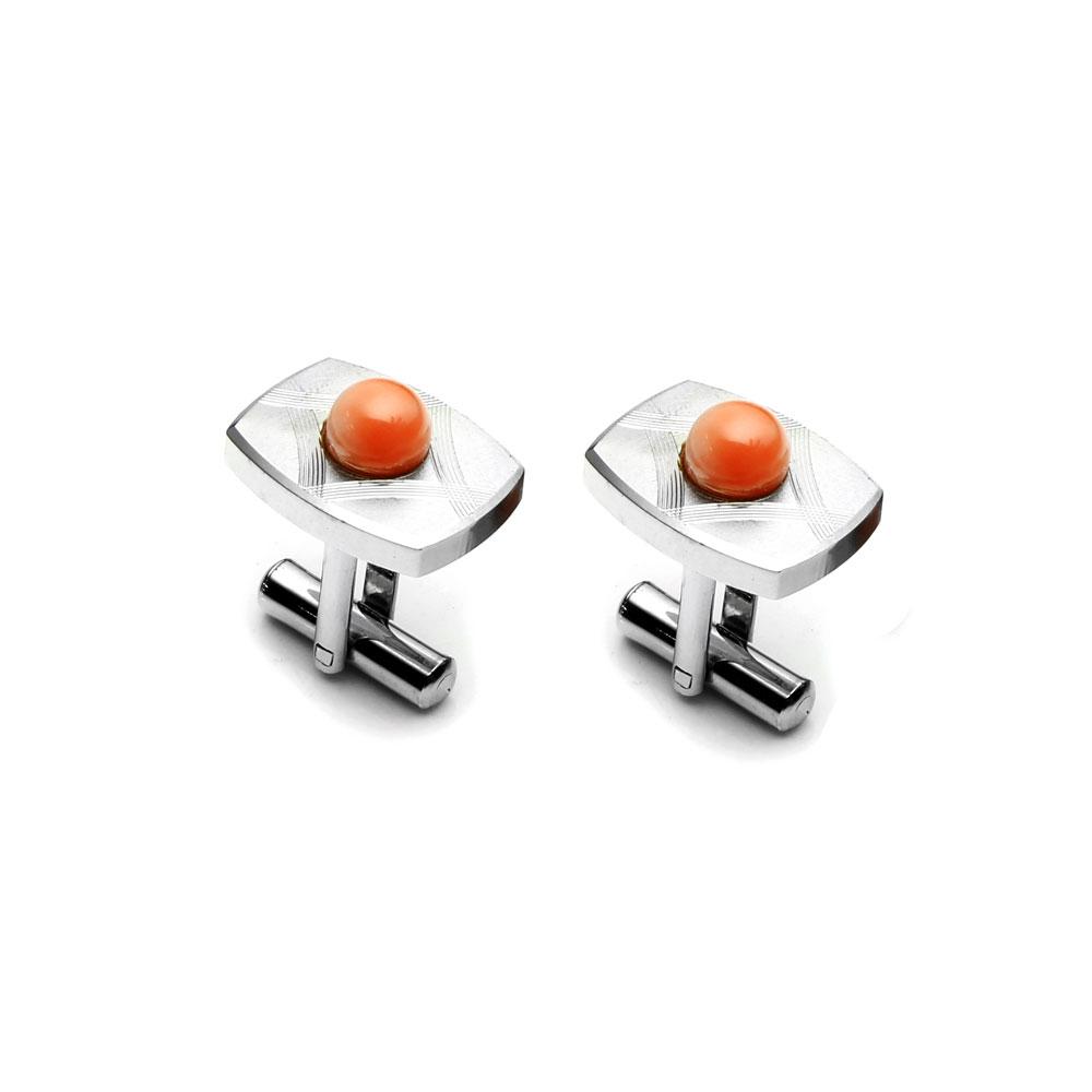 大東山珠寶 簡約線條 仕紳系列 天然粉珊瑚  西裝領徽 袖扣 1