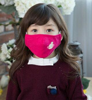 Lemonkid◆可愛純色小花猴子活性炭PM2.5防護舒棉防塵口罩-玫紅色