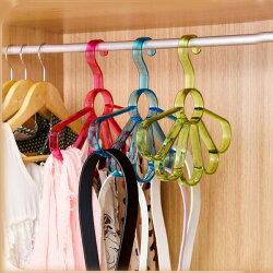 PS Mall 花朵造型多功能多環衣架 圍巾架 絲巾架 領帶皮帶腰帶 收納掛架【J614】