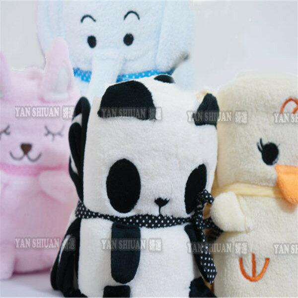 【姍伶】藍大象粉小兔黃色小鴉小雞熊貓動物收納毯/小毛毯子/懶人毯/嬰兒被/蓋毯