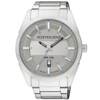 CITIZEN 星辰錶 INDEPENDENT IB5-314-61 分秒之差日期時尚腕錶(銀灰)