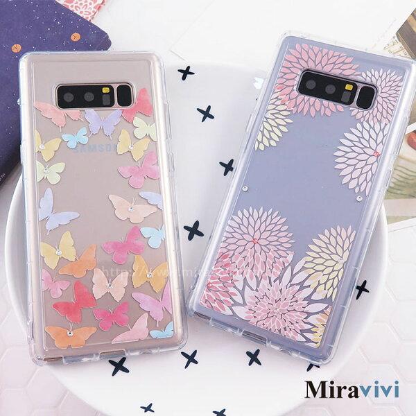 Miravivi:Miravivi原創時尚SamsungGalaxyNote8施華洛世奇水鑽花火彩蝶防摔氣墊空壓保護套