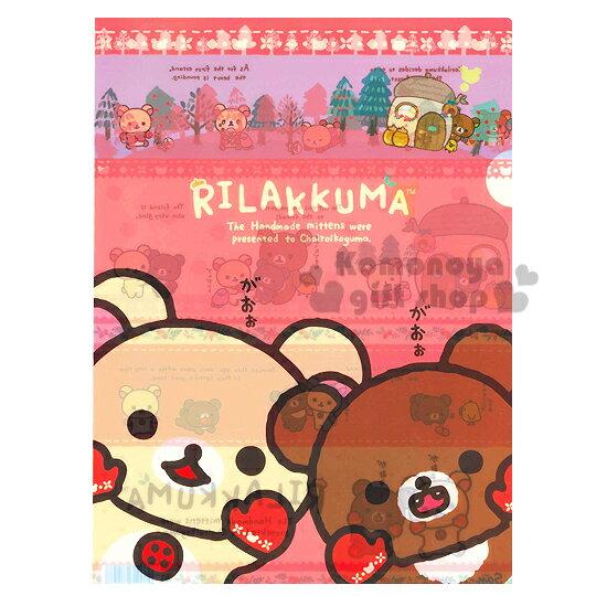 〔小禮堂〕懶懶熊 日製L型文件夾《A4.紅.牛奶熊.蜂蜜熊.手套》冬日手套系列