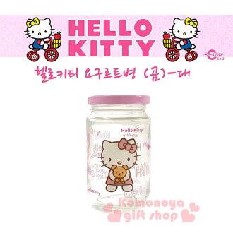 〔小禮堂韓國館〕Kitty 玻璃密封罐《L.透明.粉蓋.站姿.抱小熊.250ml》