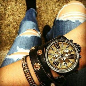 【MICHAEL KORS】正品 閃耀玫瑰金色羅馬滿天星三環黑色陶瓷手錶 MK5879 2