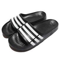 Adidas愛迪達,adidas愛迪達鞋子推薦到【ADIDAS】DURAMO SLIDE 拖鞋 黑 白 男 女 情侶鞋 -G15890