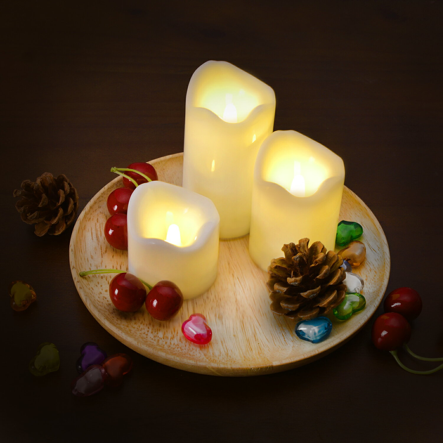 LED Candles Battery Operated Flameless Flickering smokeless 3 PCS/set Premium Votive Candles for Wedding/Party Decorations warm white 8