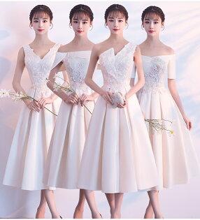 天使嫁衣【BL802B】香檳(偏黃)色4款質感緞面剌繡貼花中長款禮服˙預購訂製款