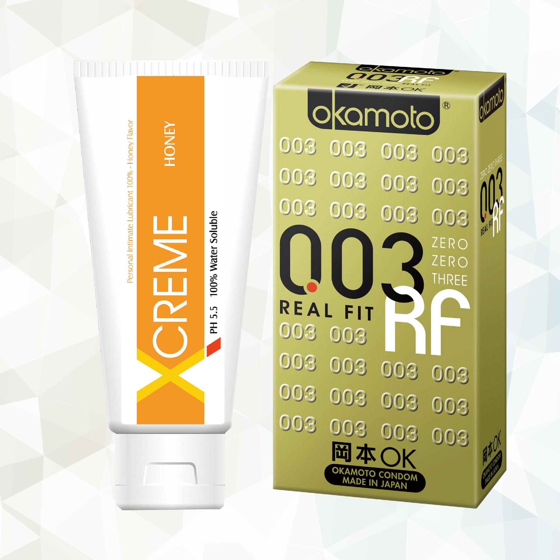 岡本003RF極薄貼身保險套6入裝+XCREME超快感蜜露潤滑液-100ml