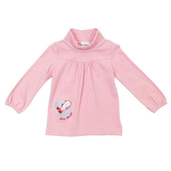 [愛的世界LOVEWORLD] 金魚系列 彈性半高領長袖上衣 粉紅色 台灣製造 2歲~8歲