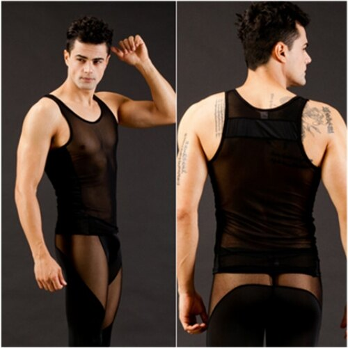 男性感內衣褲  【網將WJ】男士個性冰絲網紗透明性感背心 (M 黑)*享樂網情趣用品