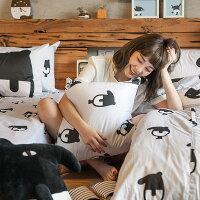 床包被套組 / 單人-100%精梳棉【經典黑白款-馬來貘的日常】含一件枕套 獨家人氣插畫家 聯名款 戀家小舖 台灣製 0
