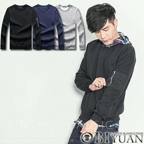 韓國刷毛大學T~T1072~OBI YUAN MA~1左袖拉鍊 飛行素面長袖T恤共3色
