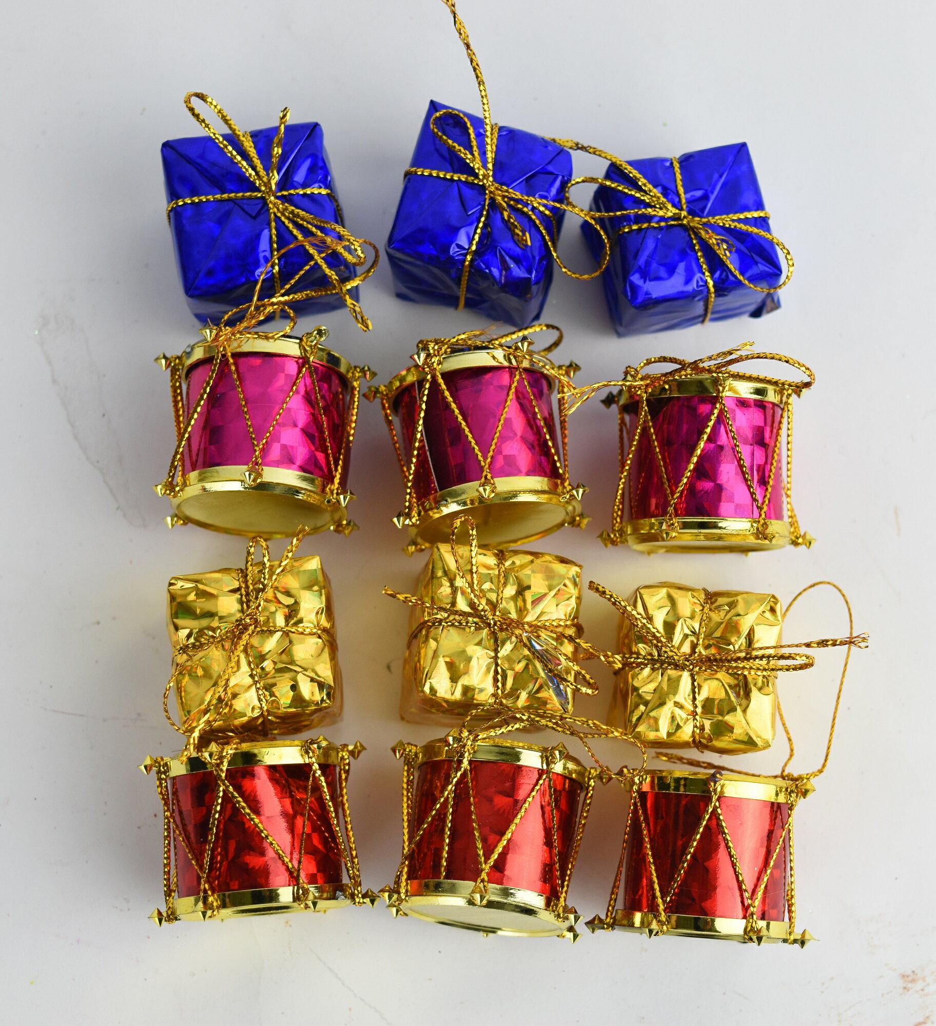 X射線【X381904】3cm禮物鼓(12入),聖誕/聖誕佈置/裝飾/吊飾/會場佈置/DIY/材料包/交換禮物