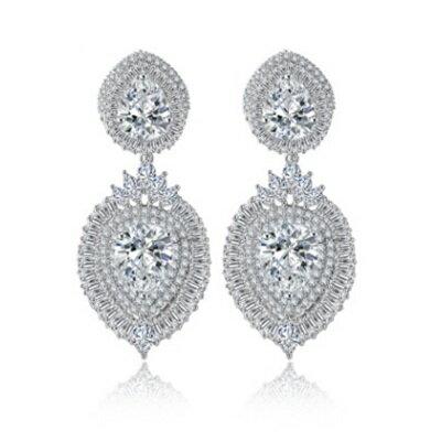 純銀耳環鍍白金鑲鑽耳飾~ 奢華高檔生日情人節 女飾品73cr335~ ~~米蘭 ~