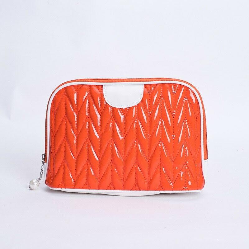 旅行大號化妝包收納包貝殼半圓洗漱包-橘色