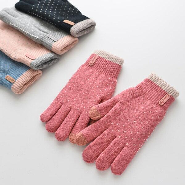 雙色波點針織保暖觸控手套(不挑色)A5066