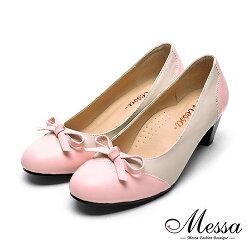 【Messa米莎專櫃女鞋】MIT可愛彩帶異材質拼接內真皮高跟鞋-粉色