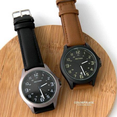 手錶 雙圈數字 皮革手錶腕錶 貼心日期窗顯示 極推 錶款 柒彩年代~NE1824~單支售價