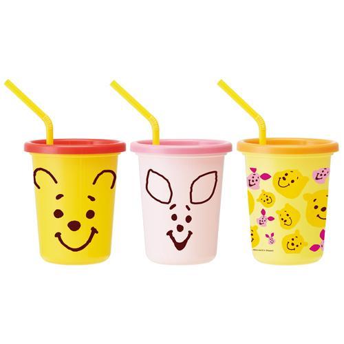 日本製 迪士尼 Winnie the Pooh 小熊維尼 兒童吸管水杯組 320ml 3入 吸管杯/學習杯*夏日微風*