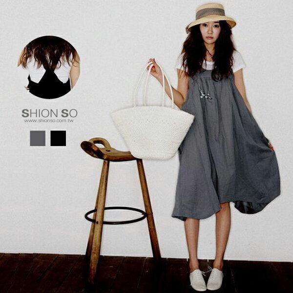 享瘦衣舍中大尺碼【B1131】鄰家女孩大口袋娃娃款洋裝