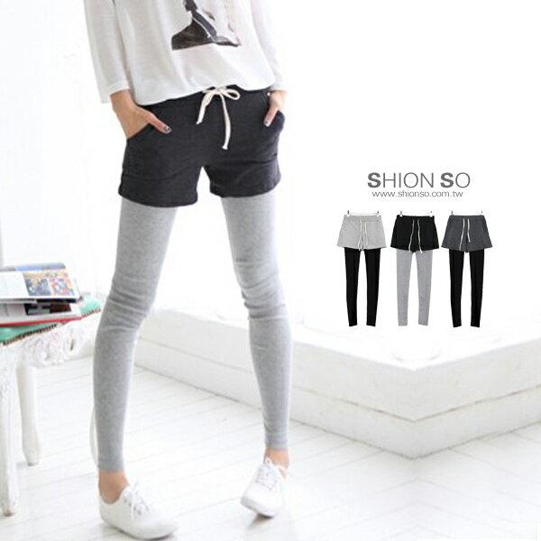 享瘦衣舍中大尺碼【B2013】層次主軸假兩件式短褲拼接內搭褲