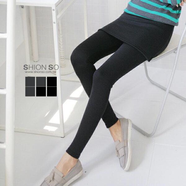 享瘦衣舍中大尺碼【B2020】層次主軸假兩件式短裙拼接內搭褲