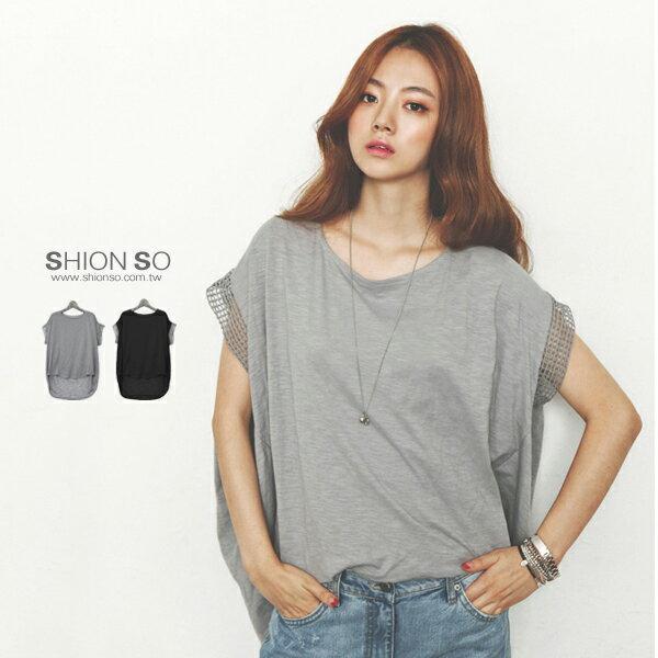 享瘦衣舍中大尺碼【B1020】鏤空袖寬版造型上衣