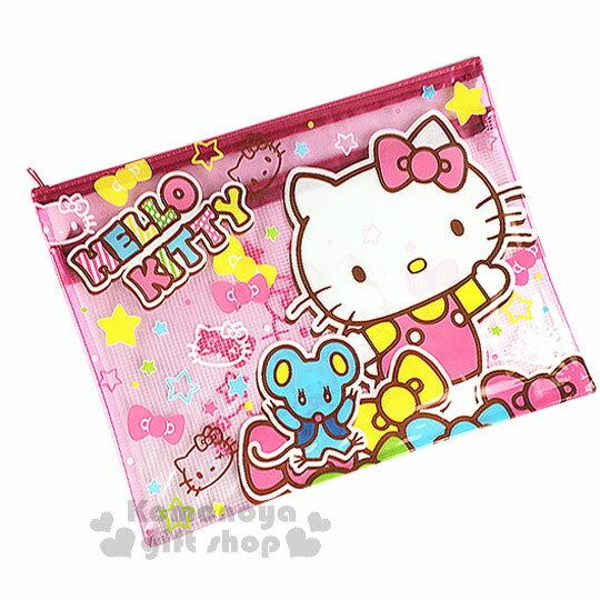 〔小禮堂〕Hello Kitty A4雙層文件資料袋《L.粉.彩色蝴蝶結.小老鼠》網狀透明拉鍊袋