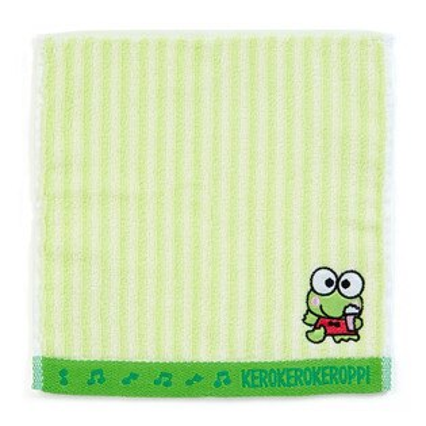 X射線【C441138】大眼蛙Keroppi小方巾20x20cm-綠白條紋,浴巾毛巾盥洗小物抹布除塵紙吸水布棉布擦手布方巾