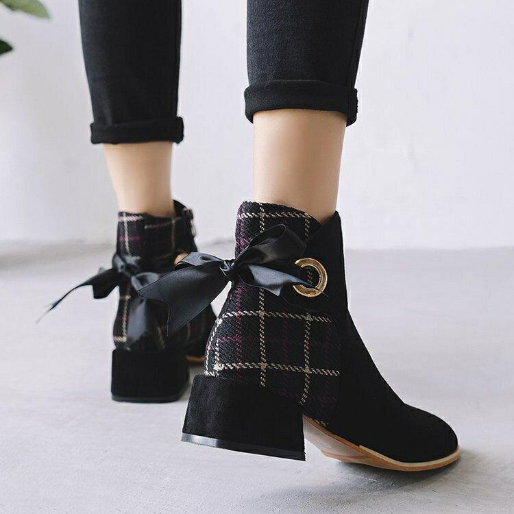 短靴 小女秋季新款切爾西仙女網紅小個子中跟短筒粗跟馬丁靴子 -  雙11 尚品