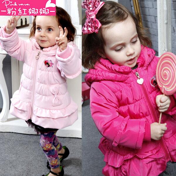 PINKNANA女童亮色連帽風衣外套 鋪棉防風外套S30558