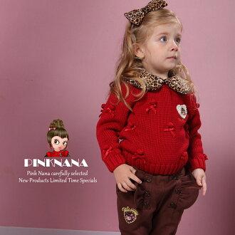 PINKNANA童裝 女童可拆式豹紋領針織上衣毛衣 S22109
