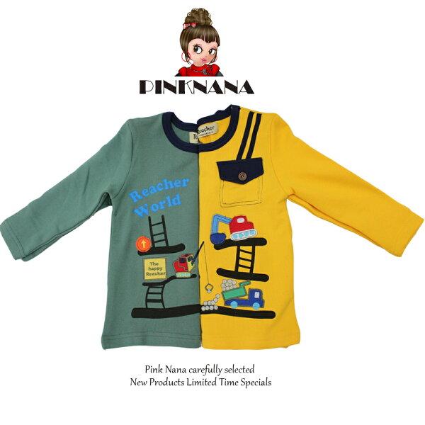 Pink Nana:PINKNANA可愛工具車棉質上衣R11-1102