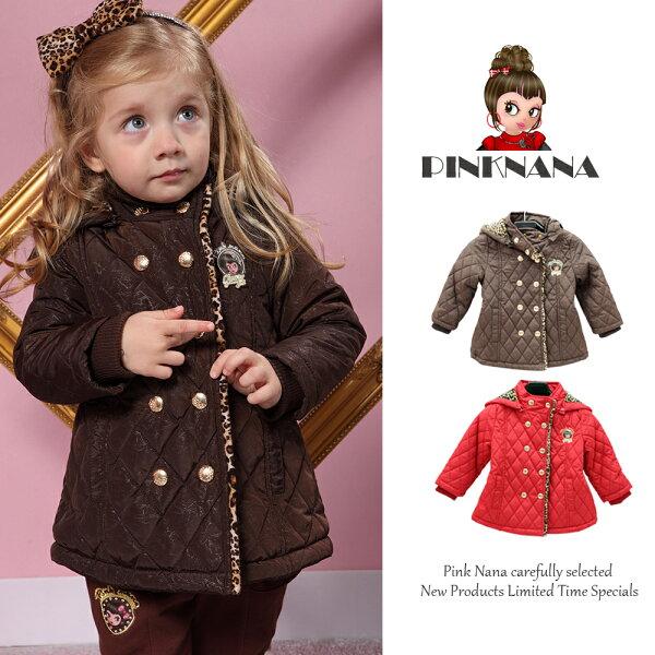 PINKNANA童裝 女童雙排扣鋪棉外套S22103