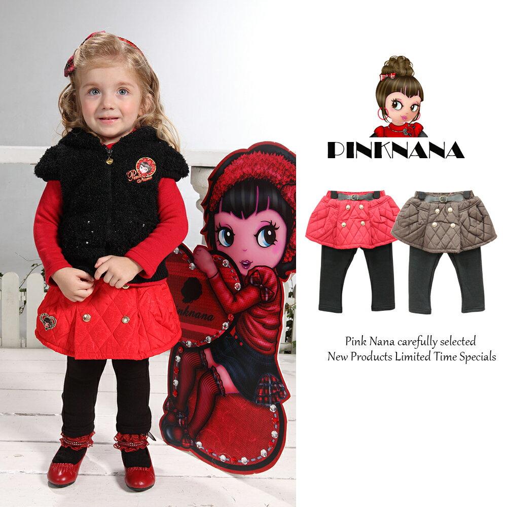 PINKNANA格紋鋪棉褲裙S22123