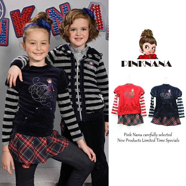 Pink Nana:PINKNANA童裝女童絨布配色袖上衣+裙子20310