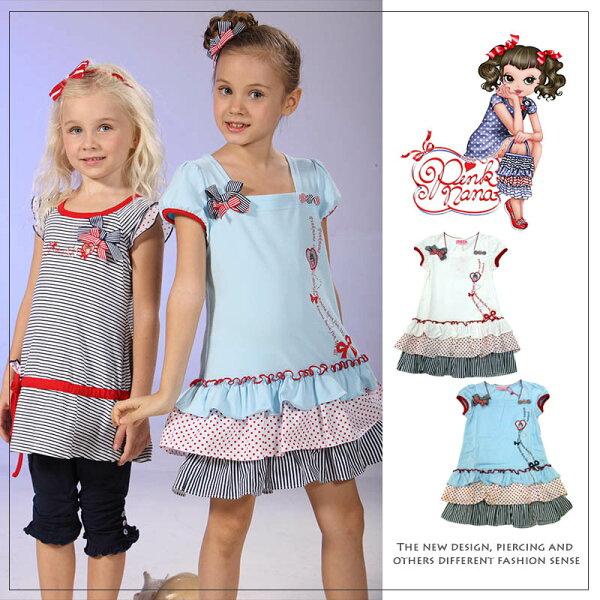 Pink Nana:PINKNANA包袖蛋糕裙棉質洋裝21131(預購款)