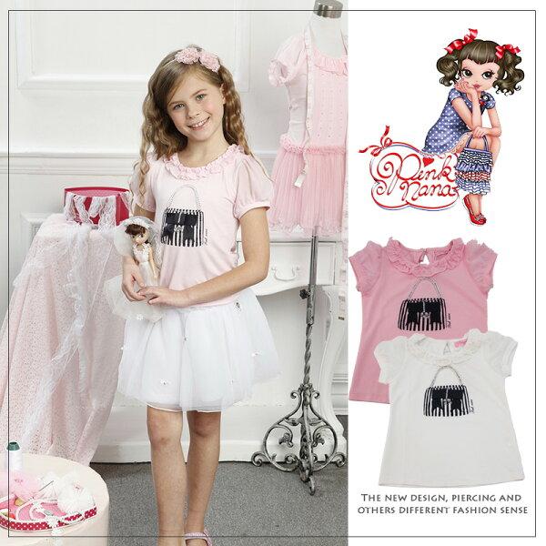 PINKNANA女童 春夏短袖法式立體縫珠上衣27106