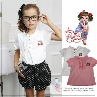 PINKNANA童裝 女童夏季女童短袖襯衫T恤27133