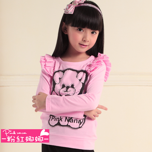 PINKNANA童裝 女童小熊印花長袖T恤P21106