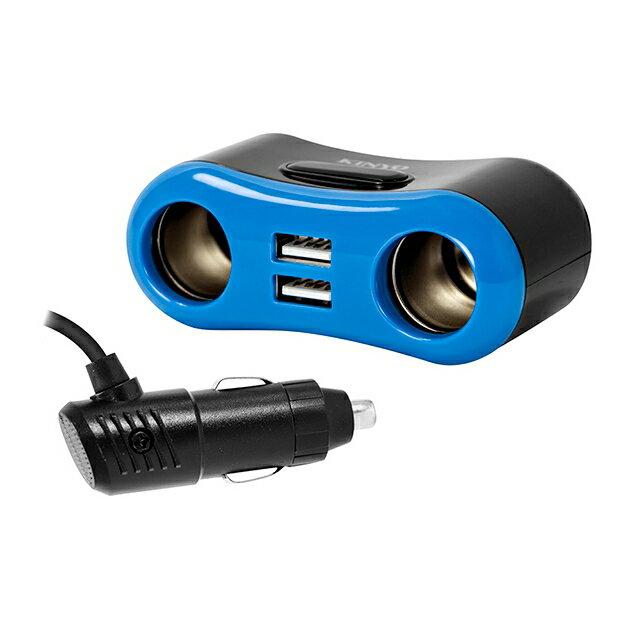 【KINYO】車用USB點煙器擴充座 (CRU-8722) 雙USB 快充 車用充電器 車充【迪特軍】